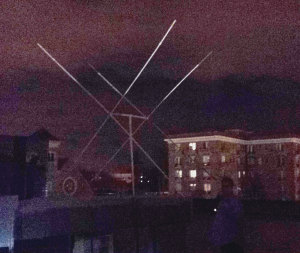 Quad Loop Antenna on the roof at night.